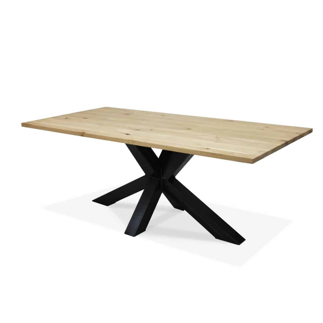 Industriële eikenhouten tafel Pitts