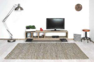 Steigerhouten TVkast met industriele poten Ariton