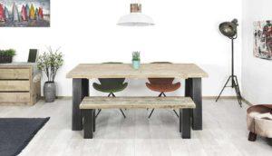 Steigerhouten industriële tafel Amma