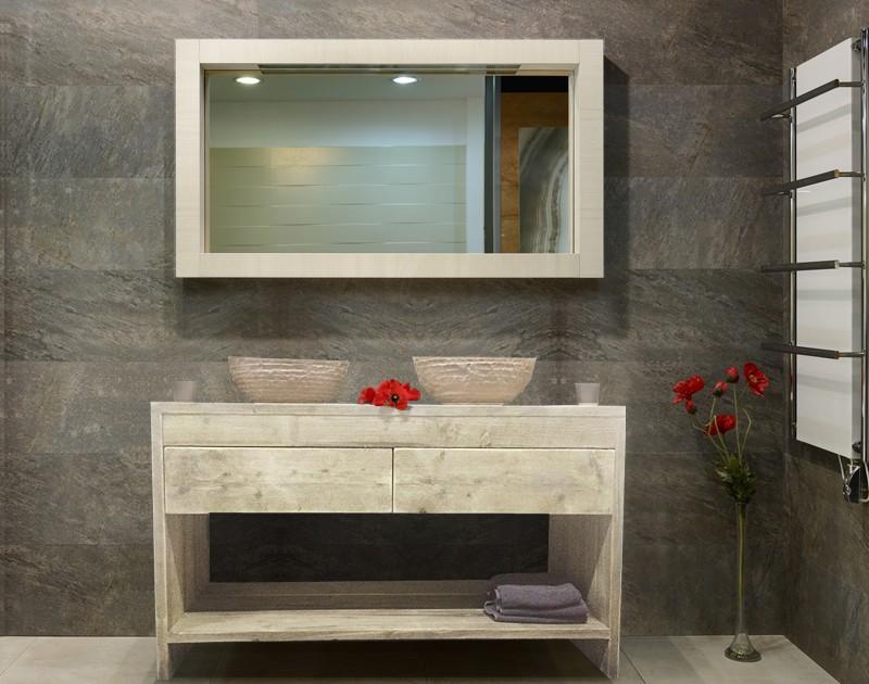 Steigerhouten badkamer kast slank open gebruikt hout en