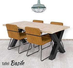 Industriele tafel Basile met X poten
