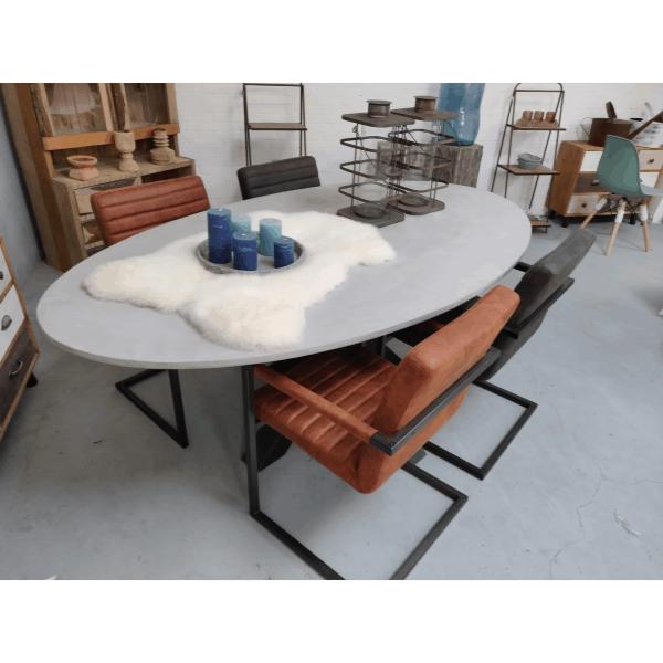 Betonlook tafel ovaal Lillie