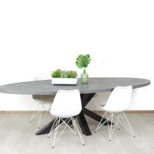 Ovale betonlook tafel met matrixpoot Lillie