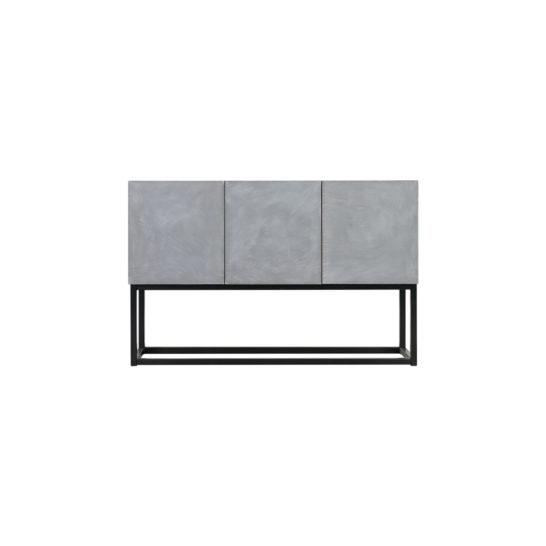 Betonlook dressoir Cantil met deurtjes en industrieel onderstel