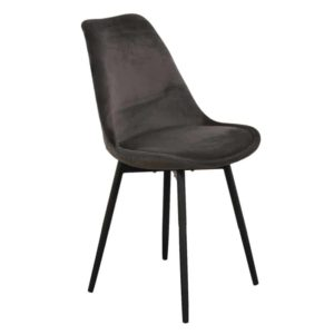 leaf chair velvet - donkergrijs