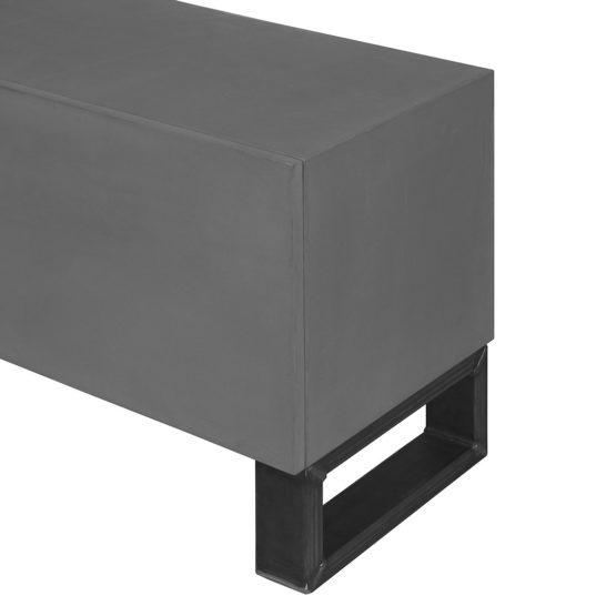 Betonlook TV meubel Eda met industriele O poten en klepdeuren