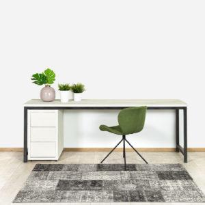 Betonlook bureau Bax met het witte bureaublad