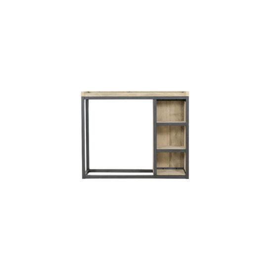 Steigerhouten sidetable Kent met industrieel frame en legplanken