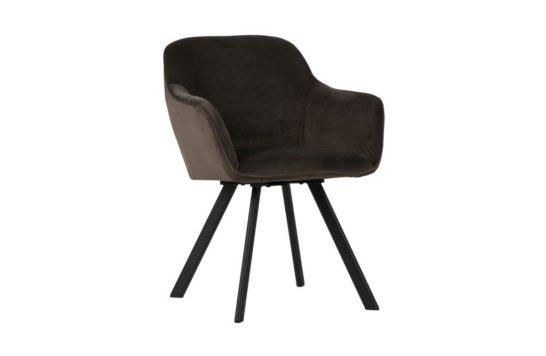 Woood velvet stoel Viggo - antraciet