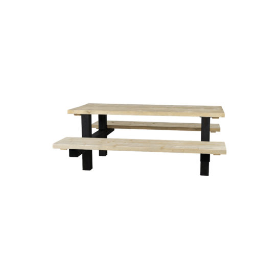 Steigerhouten picknicktafel Arthur met industrieel frame