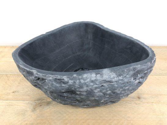 Grijze natuurstenen waskom | W018 | 37 x 32 x 14 cm