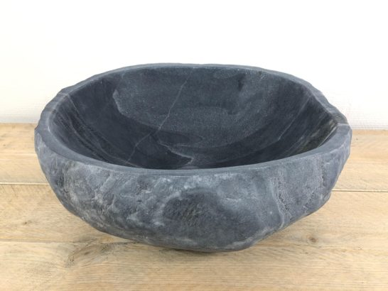 Grijze natuurstenen waskom   W024   34 x 30 x 15,5 cm
