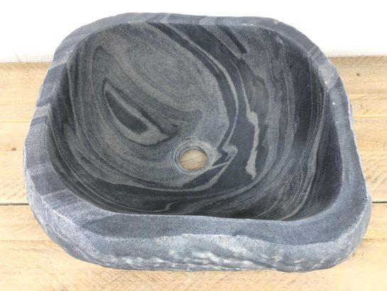 Vierkante riviersteen waskom   W078   39 x 36,5 x 15,5 cm
