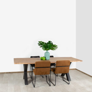 Acacia boomstam tafel Mexia met industriële X poten