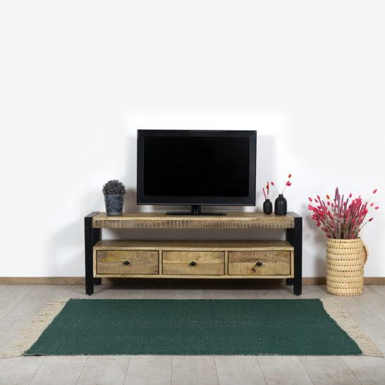 Mangohout TV meubel Enders met lades en industrieel frame