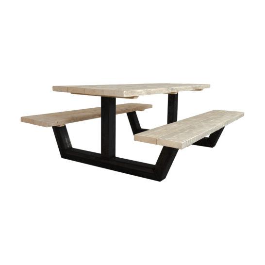Steigerhouten picknicktafel Hamel met stalen onderstel