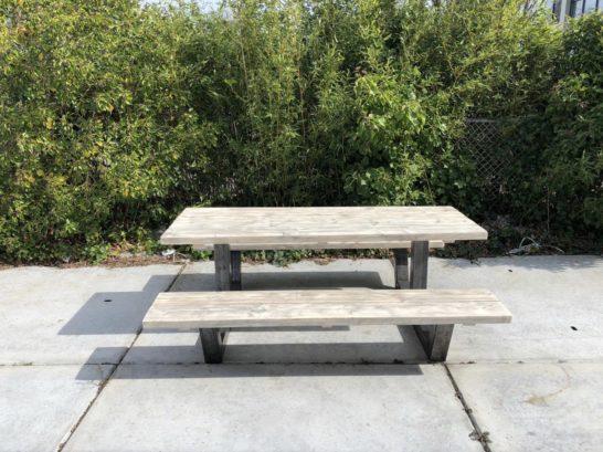Steigerhouten picknicktafel Hamel industrieel frame