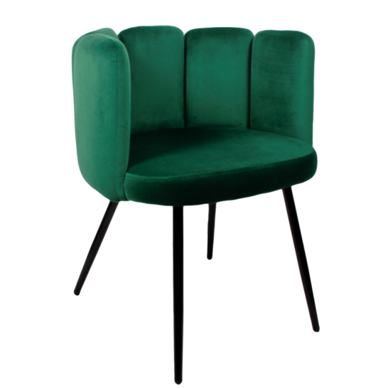 High five chair velvet - emerald groen
