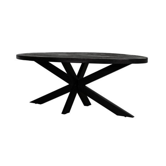 Ovalen Eettafel Zwart Mangohout