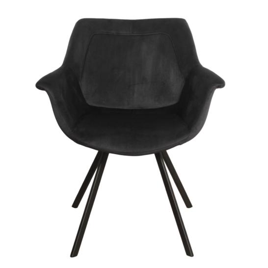 Ray arm chair velvet - zwart
