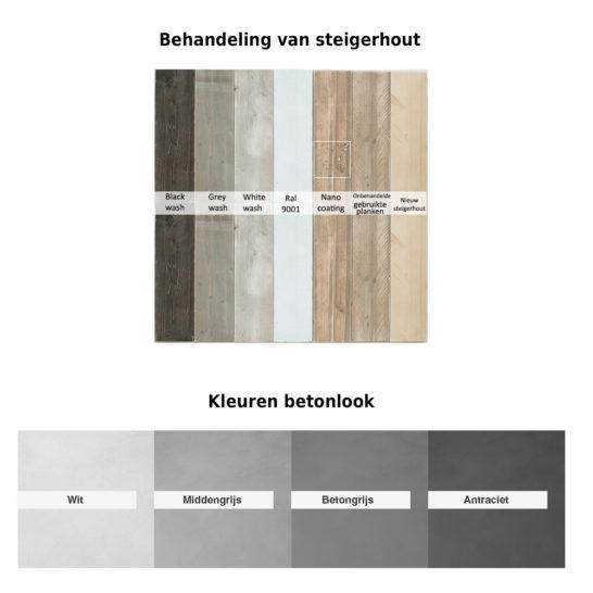 Samples van steigerhout and betonlook