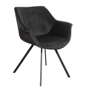 Ray arm chair velvet - zwart