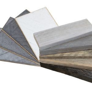 Samples van steigerhout en betonlook kleur