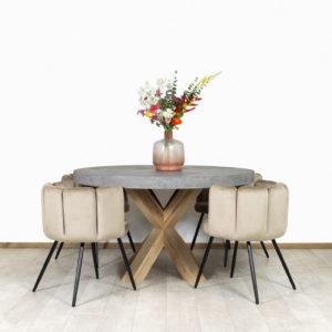 Betonlook tafel Elida met eikenhouten poot