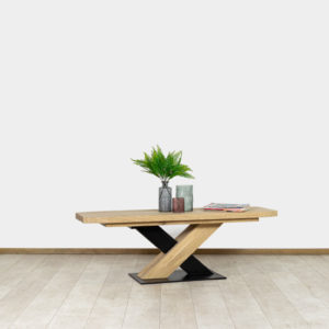 Eikenhouten salontafel Ollie met stalen poot