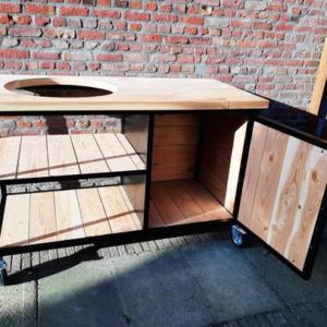 Douglas houten buitenkeuken Salun met industrieel frame