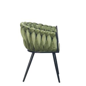Wave chair velvet - olijf groen