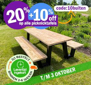 20%+10% korting op alle picknicktafels